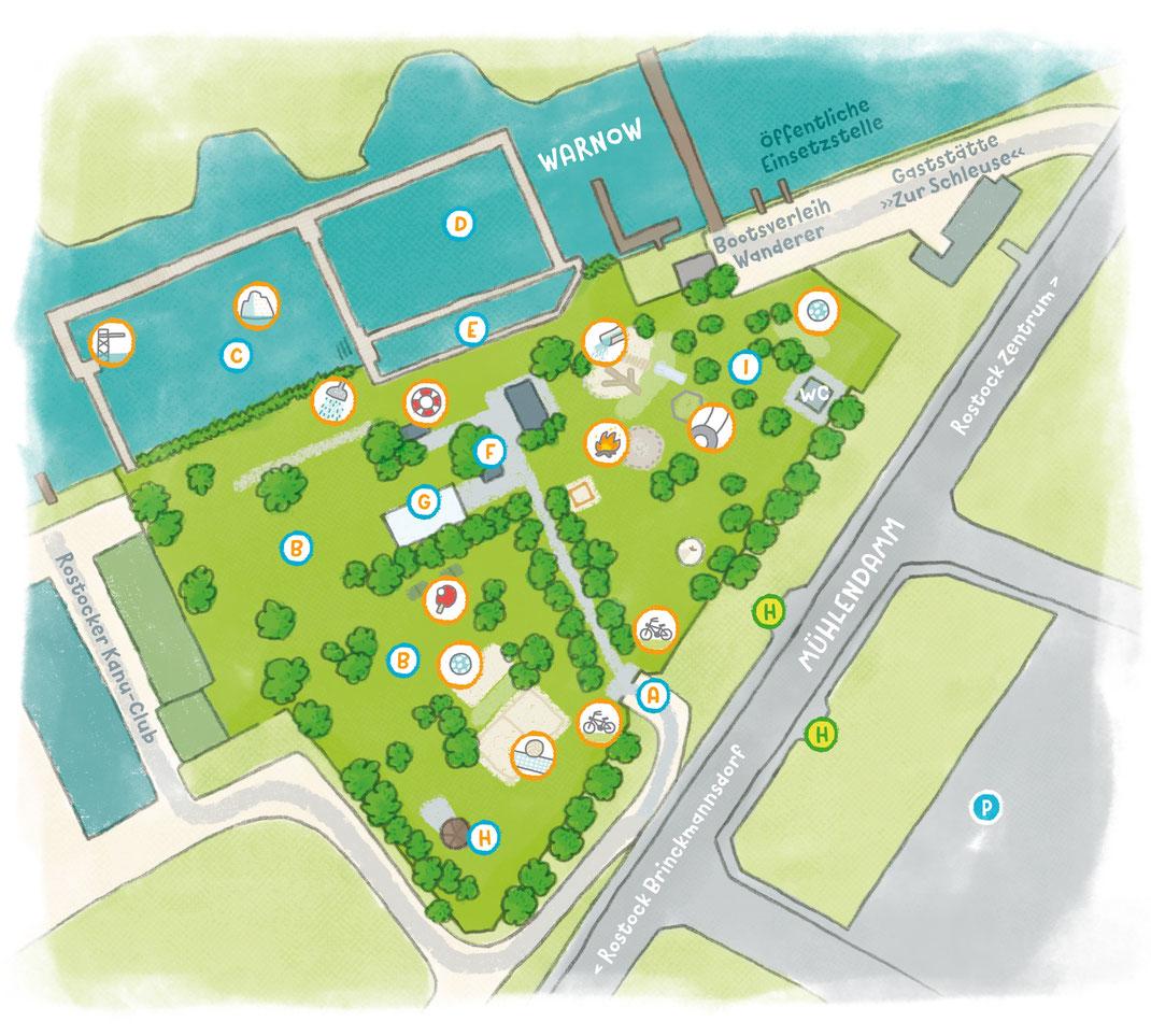 Lageplan zum Flussbad Rostock