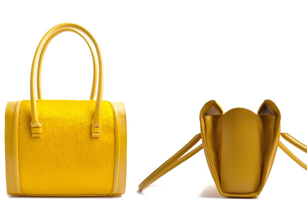 OSTWALD Bags . CASE . Tote . Leather . Cow Fur . yellow. Shop Online
