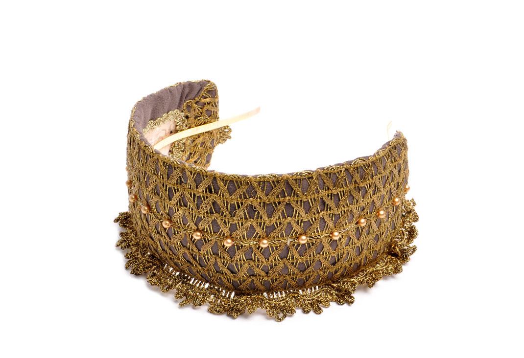 Headpiece . Goldreifen  Niely Hoetsch grey & gold