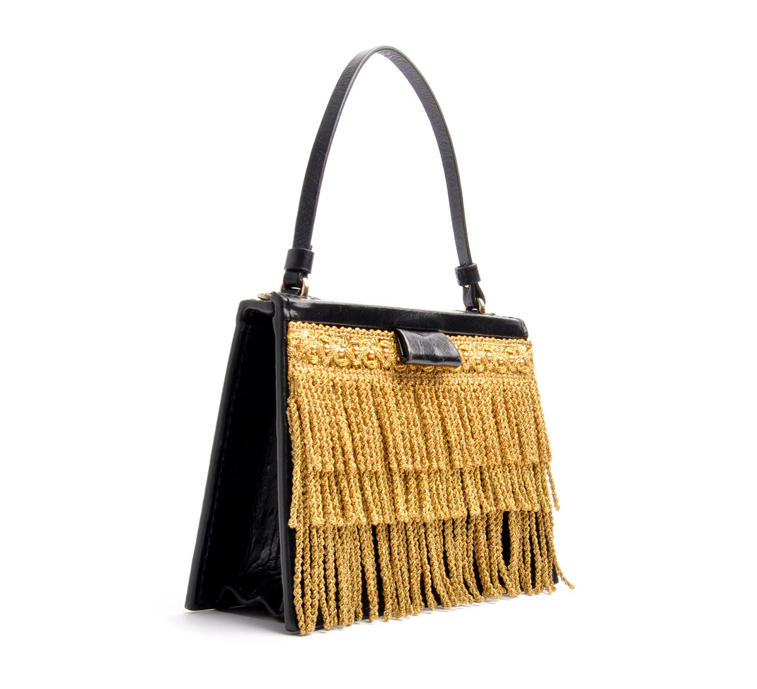 OSTWALD TURTLE EDGE .  TOTE black . gold Leatherbag in cooperation with Niely Hoetsch