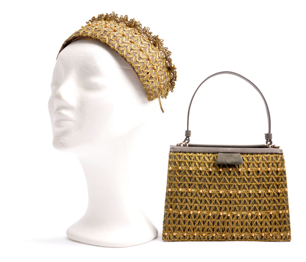 Headpiece and Leatherbag . OSTWALD in cooperation with  Niely Hoetsch grey & gold