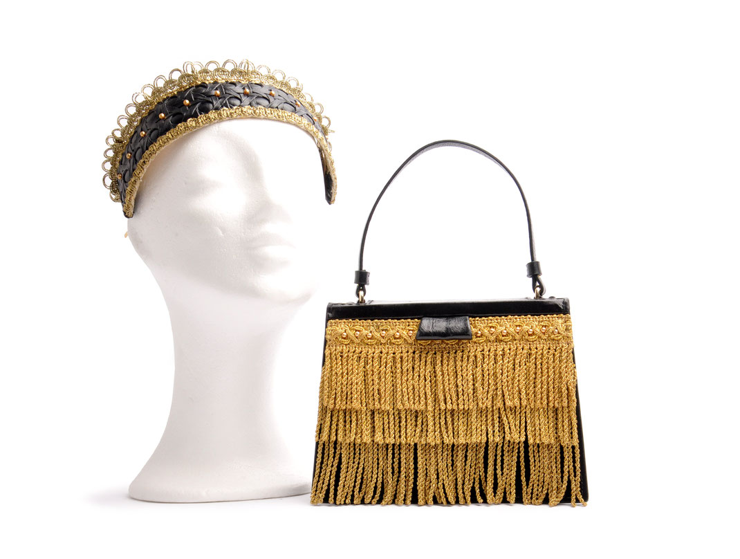 Headpiece and Leatherbag . OSTWALD in cooperation with  Niely Hoetsch black & gold