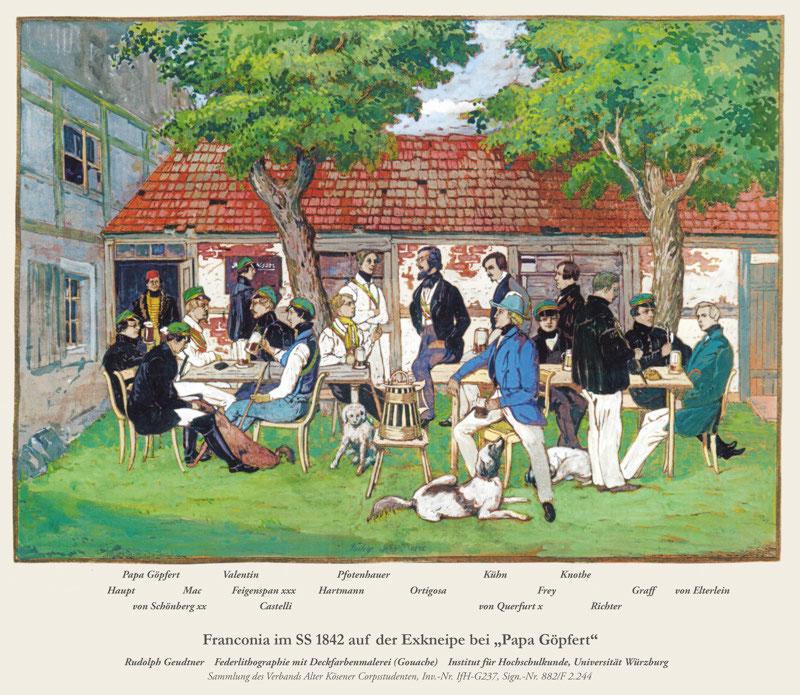 """Studenten der Franconia in Freiberg im Sommersemester 1842 auf der Exkneipe bei """"Papa Göpfert""""."""