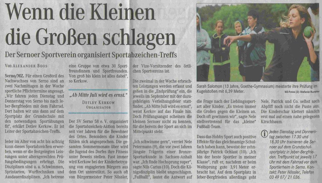 """MZ-Artikel """"Wenn die Kleinen die Großen schlagen"""" vom 28.06.2007"""