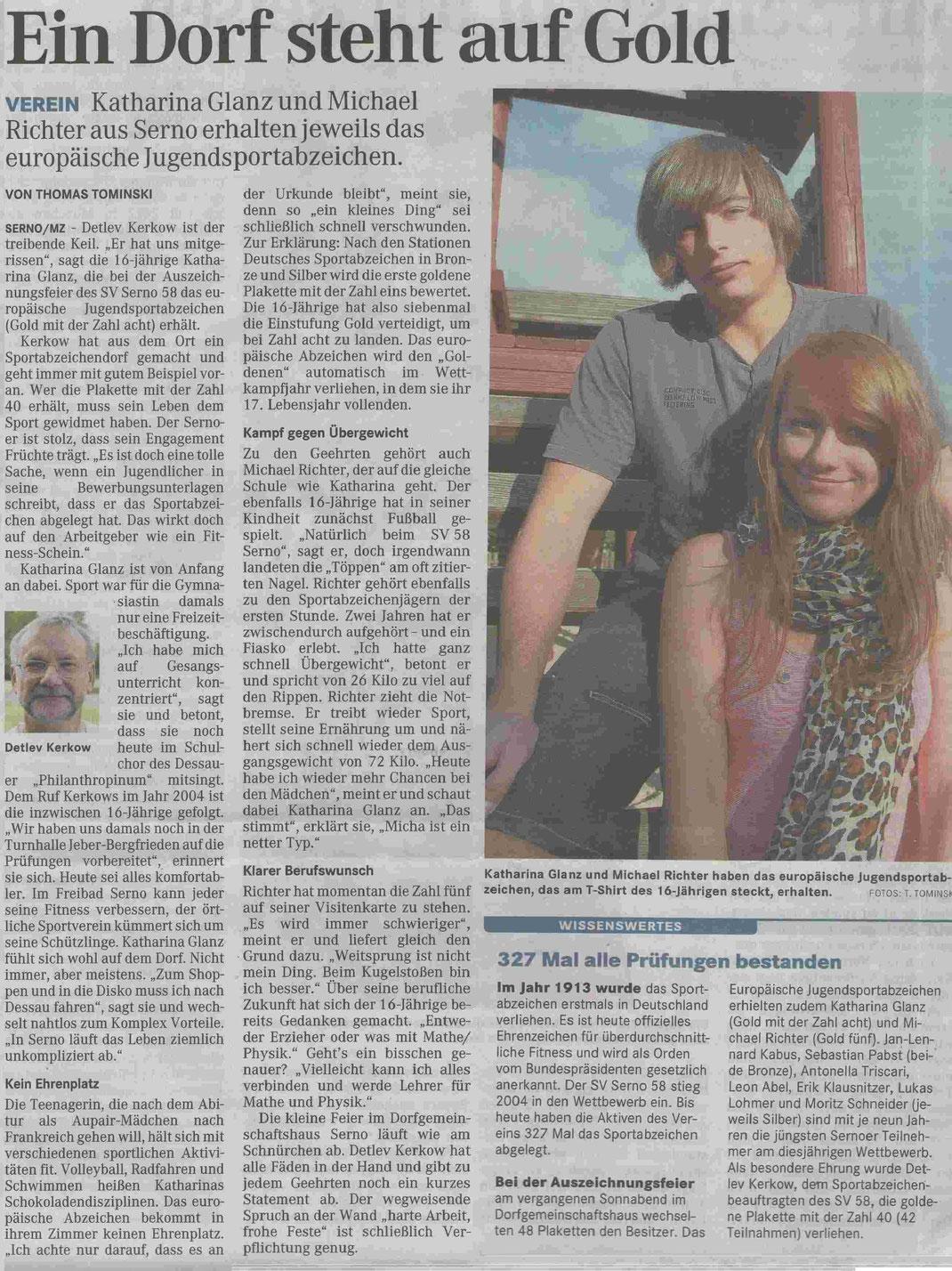 """MZ-Artikel """"Ein Dorf steht auf GOLD"""" vom 14.09.2011"""
