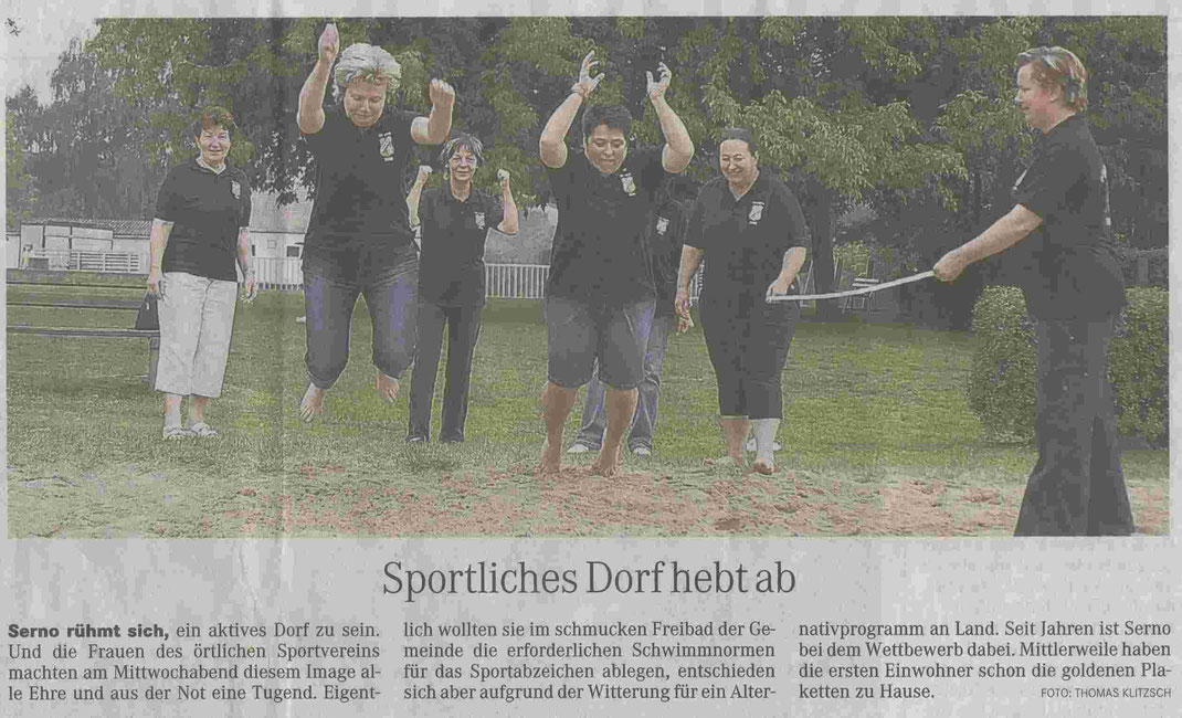 """MZ-Artikel """"Sportliches Dorf hebt ab"""" vom 14.08.2009"""