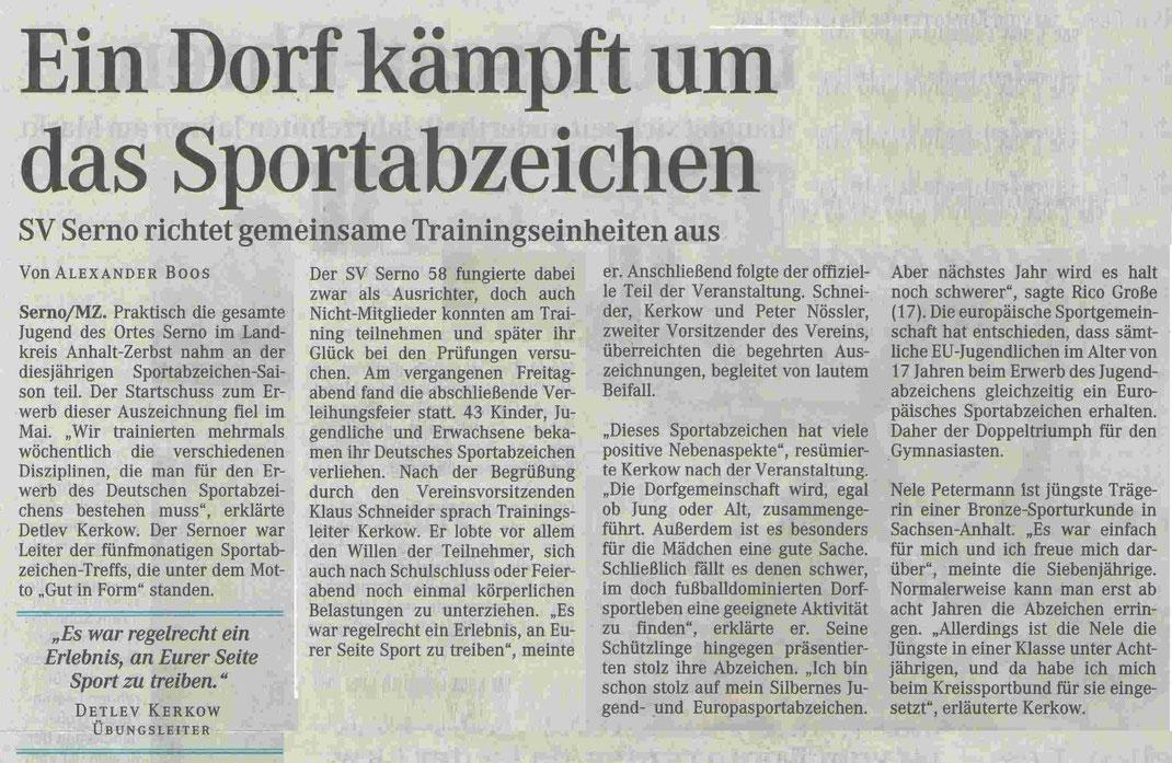 """MZ-Artikel """"Ein Dorf kämpft um das Sportabzeichen"""" vom 14.09.2005"""