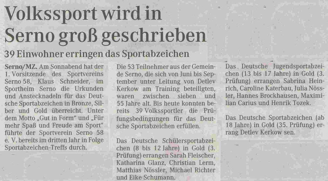 """MZ-Artikel """"Volkssport wird in Serno groß geschrieben"""" vom 12.09.2006"""