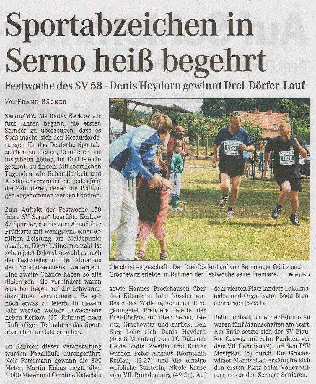 """MZ-Artikel """"Sportabzeichen in Serno heiß begehrt"""" vom 20.06.2008"""
