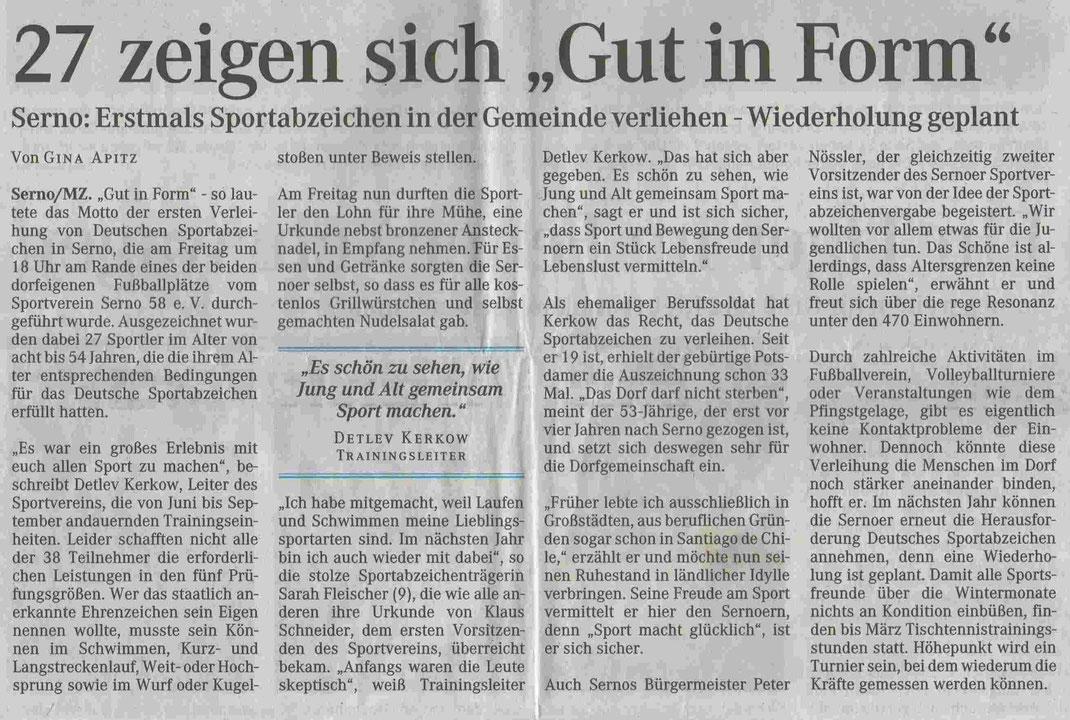 """MZ-Artikel """"27 zeigten sich Gut in Form"""" vom 20.09.2004"""