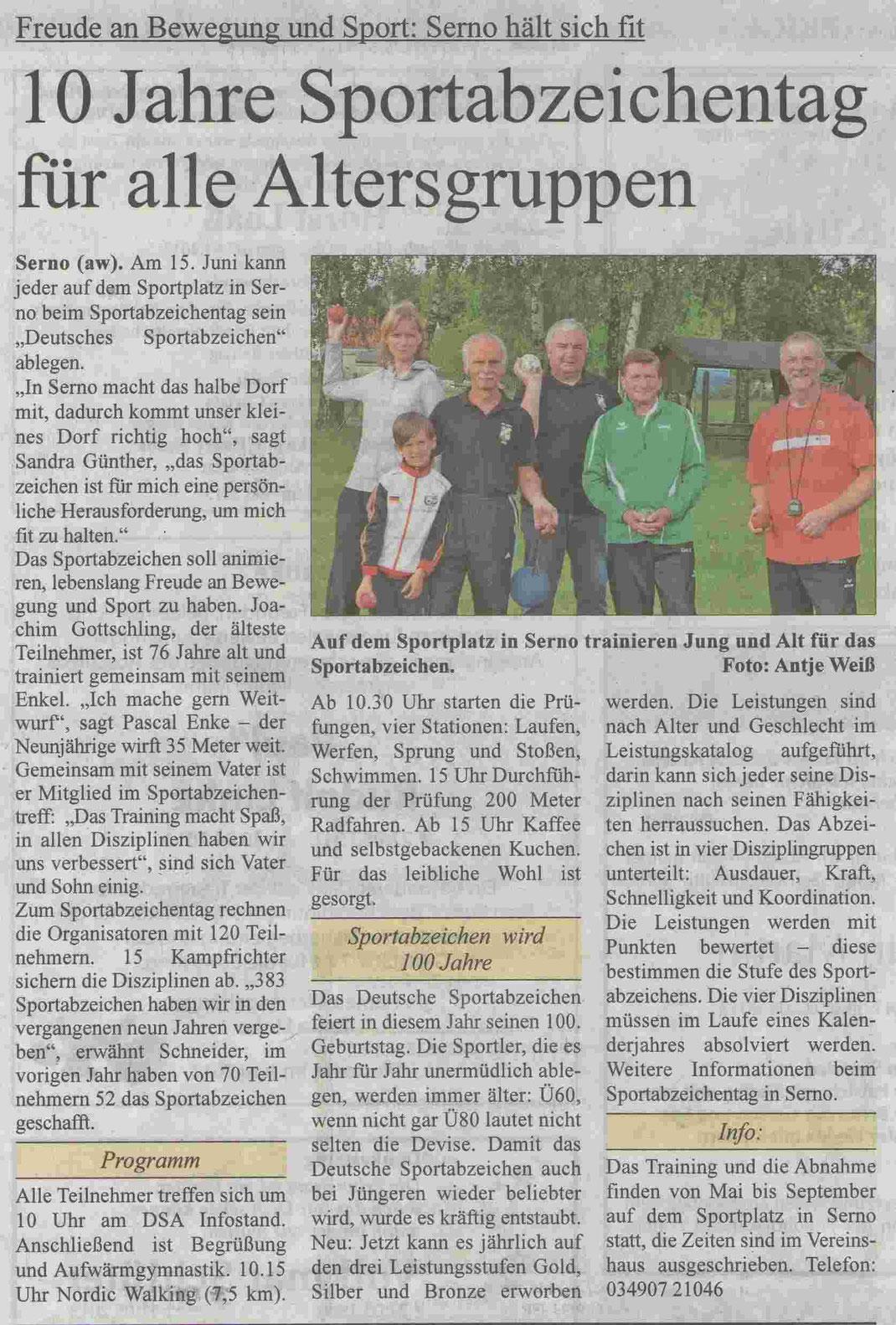 """MZ-Artikel """"10 Jahre Sportabzeichentag für alle Altersgruppen"""" vom 09.06.2013"""