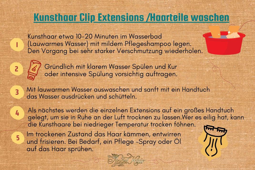 Clip Extensions aus Kunsthaar Richtig waschen