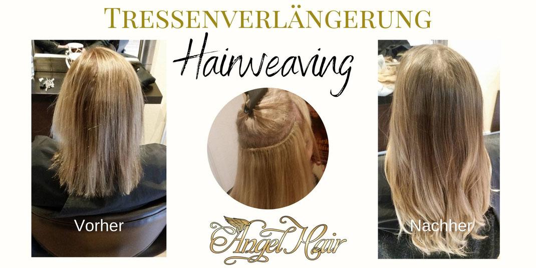 Haarweaving vorher nachher Beispiel