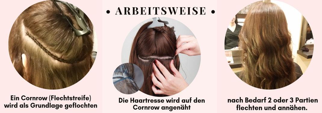 Hairweave sew in Haartressen verlängerung vorher und nachher
