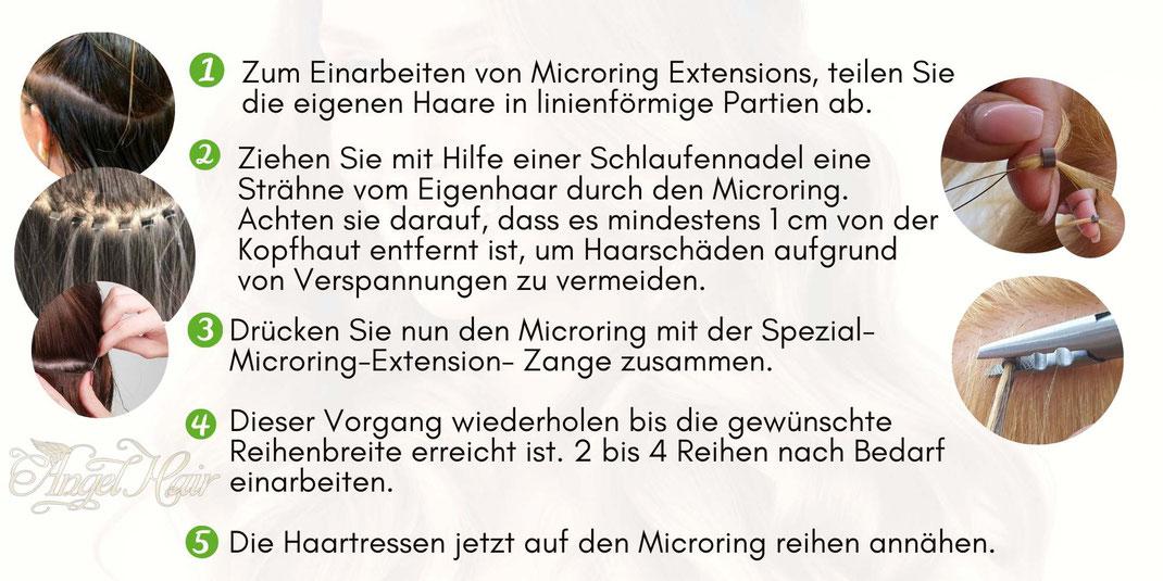 1.  Zum Einarbeiten von Microring Extensions, teilen Sie die eigenen Haare in linienförmige Partien ab.  2.  Ziehen Sie mit Hilfe einer Schlaufennadel eine Strähne vom Eigenhaar durch den Microring. Achten sie darauf, dass es mindestens 1 cm von der Kopfh