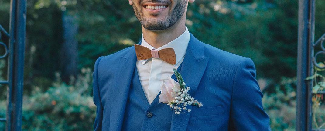 Mariage L. et T. / Noeud pap bois et boutons de manchette avec pyrogravure personnalisée