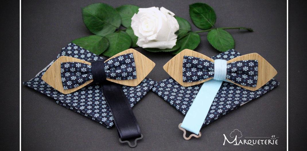 Noeud pap en bois et tissu liberty bleu navy fleurs bleu clair accessoire wedding chic et original