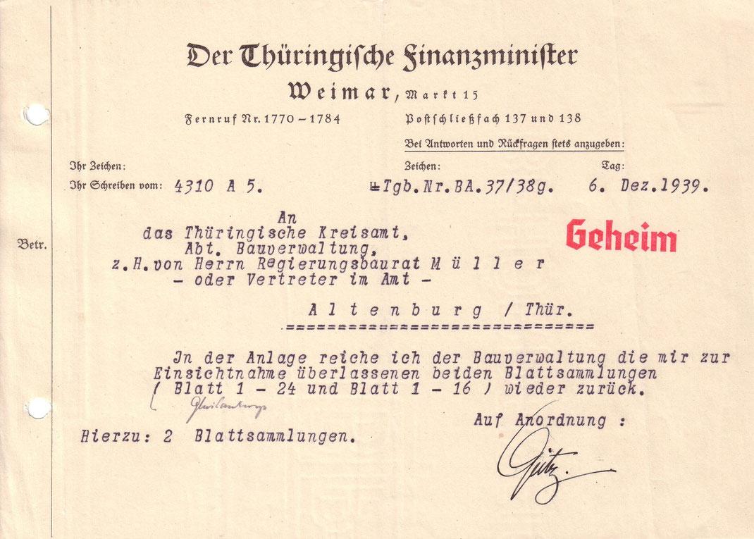 6. Dezember 1939 Brief Finanzminister Thüringen / Quelle: Kreisarchiv Altenburg