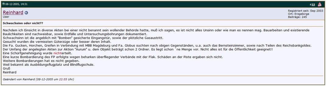 8. Dezember 2005 Ausschnitt Forum für unterirdisches, Geschichte und Technik / Quelle: http://www.unterirdisch-forum.de/forum/showthread.php?t=3757&highlight=leinawald&page=2