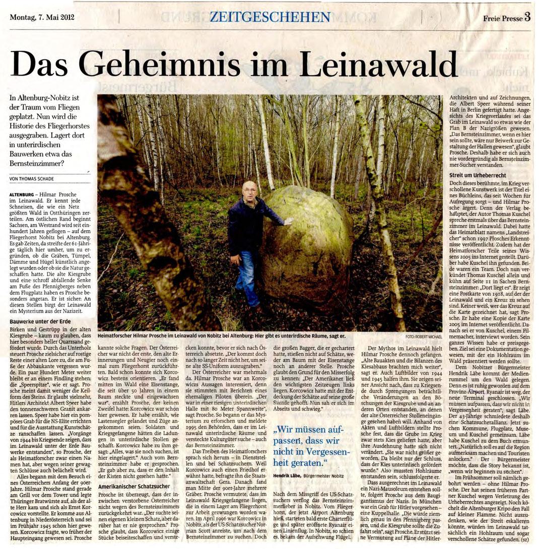 Zeitungsartikel / Quelle: Freie Presse vom 7. Mai 2012
