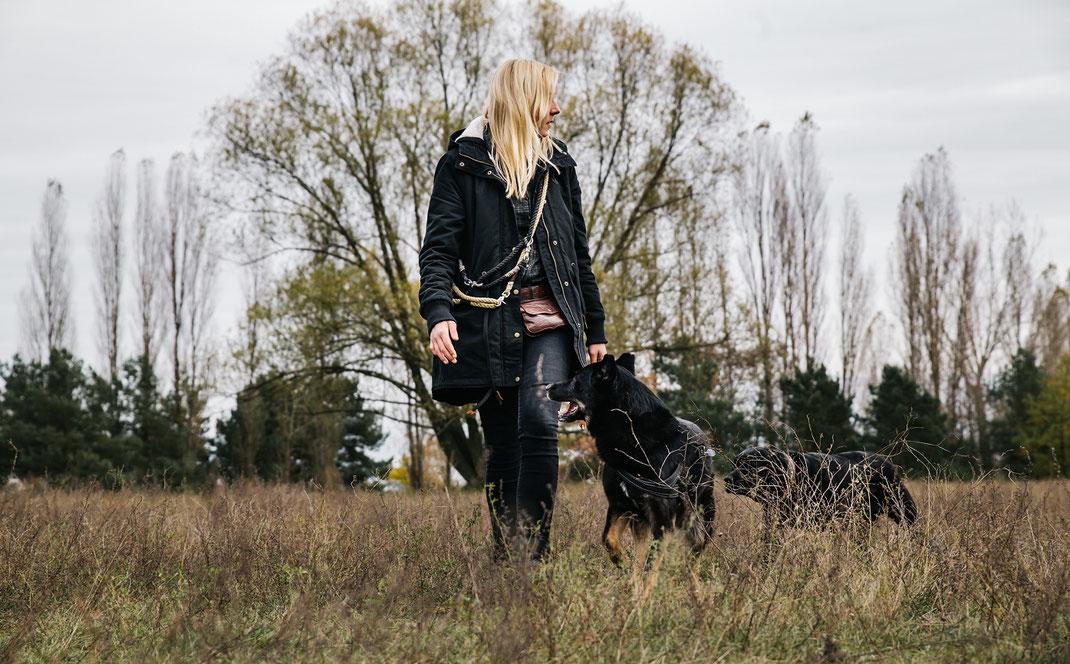 Spaziergang im Landschaftspark Adlershof Bildstrecke mit Hundeschule Hundekompass Trainerin Anna Ostrowska Hundefotografie Berlin