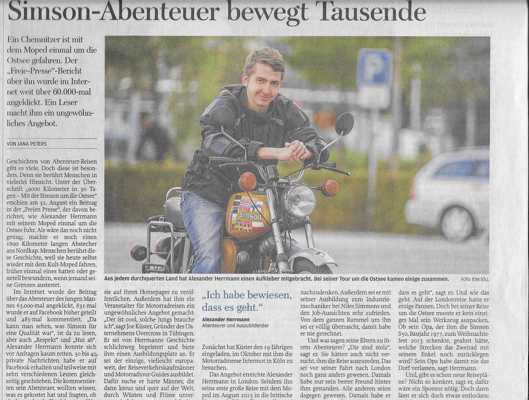 Freie Presse, 06. September 2016