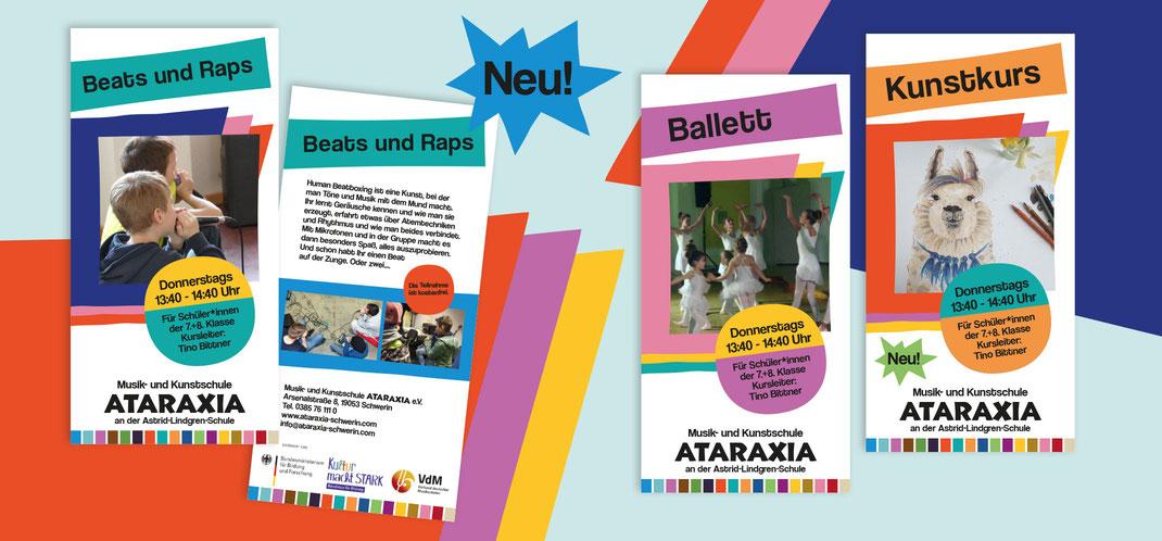 Ataraxia Schwerin, Kunstschule, Musikschule, Flyerdesign, Corporate Design, Büro Petrol, Köln, Farbwelt, Gestaltung, Designagentur,
