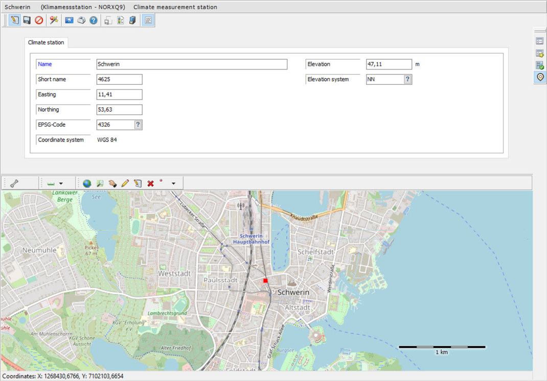 """General data mask for the object type """"Climate monitoring station"""" with map preview"""