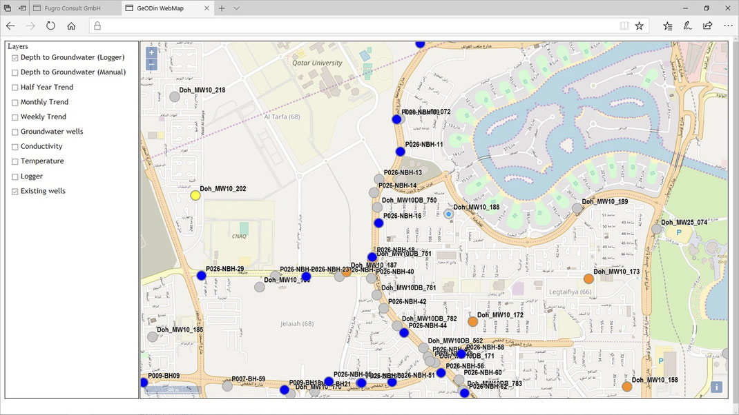 GeODin-Portal mit Hintergrundkarte sowie den Standorten von Grundwasser-Loggern und Brunnen