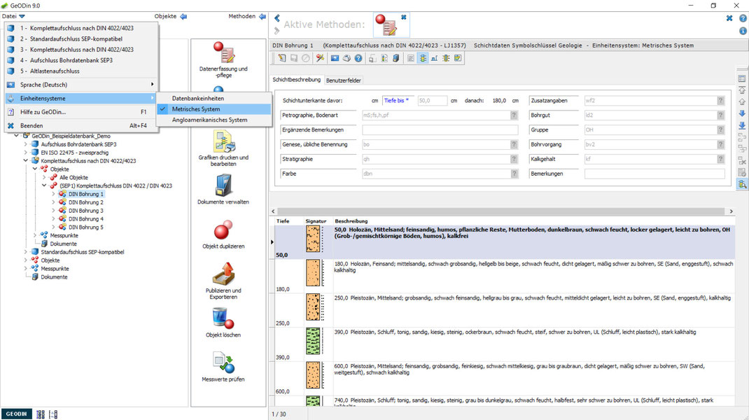 Anwendungsbeispiel des neuen Einheitensystems: Erfassung von Schichtdaten in Zentimeter (cm)
