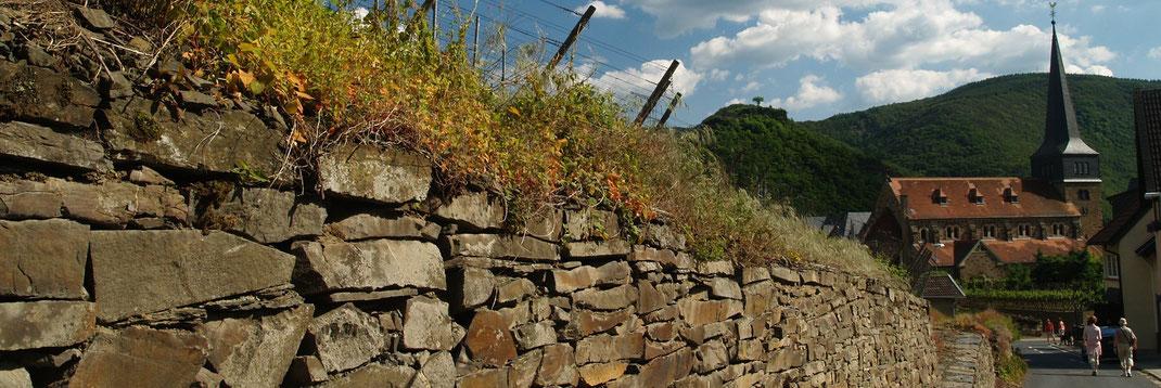 Der Abstieg vom Rotweinwanderweg zum Ortskern von Mayschoss an der Kirche vorbei zur Winzergenossenschaft Mayschoss-Altenahr
