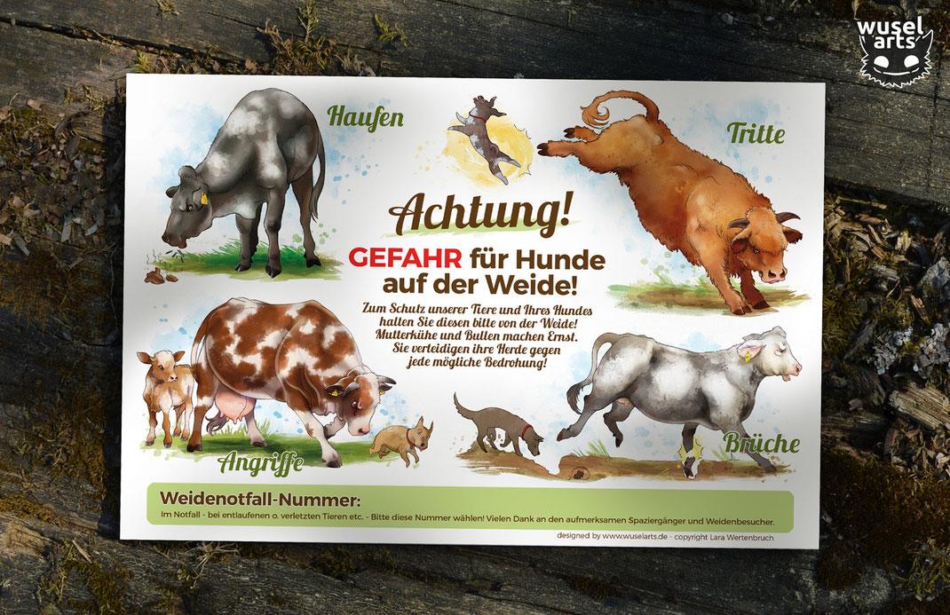 Rind Weideschild, Kuh tritt Hund, Kuh greift an, Rind verteidigt ihr Kalb, Keine Hunde Schild