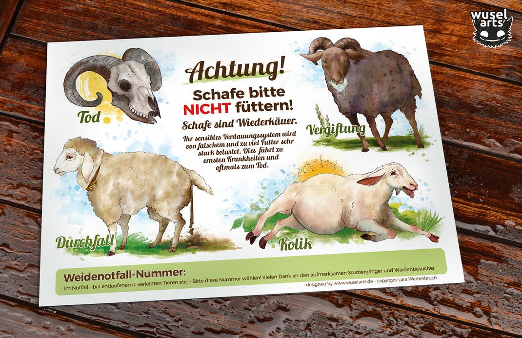 """Schafe haben ein sensibles Verdauungssystem, Falsches Futter führt zu Krankheiten wie Durchfall, Kolik, Vergiftung oder gar dem Tod - das """"Schafe nicht füttern!"""" Schild hilft"""