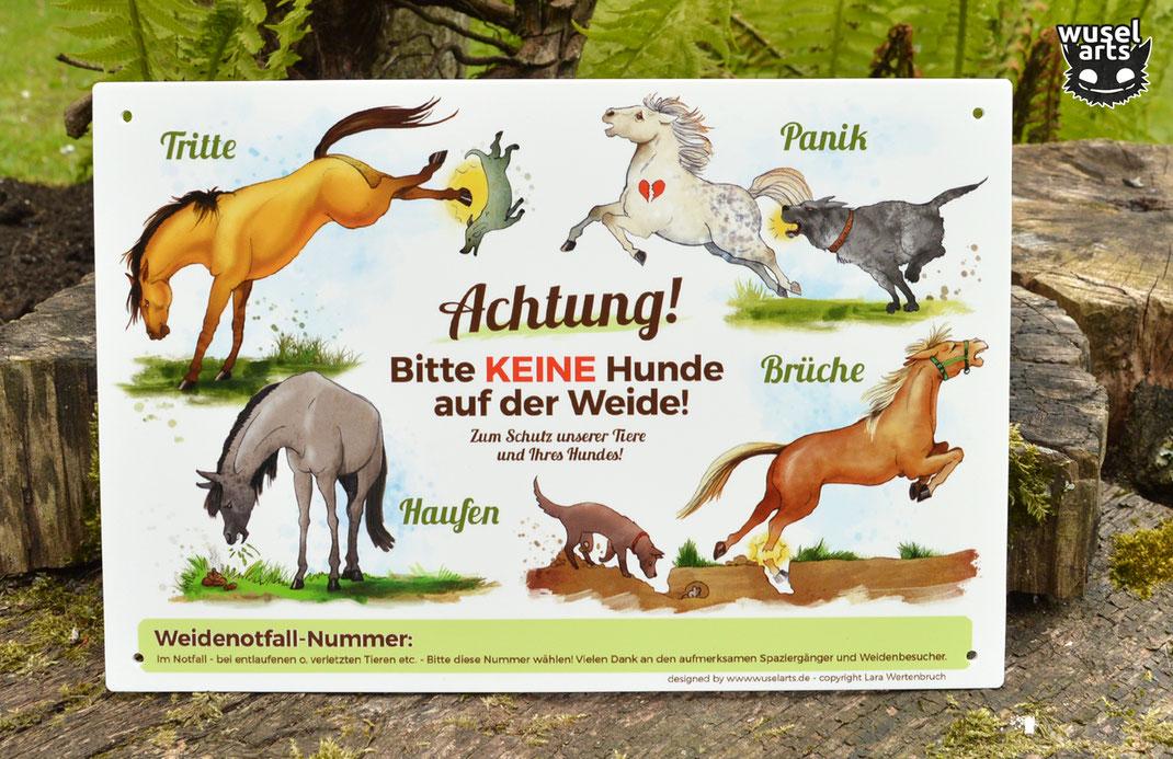 Keine Hunde auf der Weide, Verletzungsgefahr für Hund und Pferd, Schild Keine Hundehaufen auf der Wiese