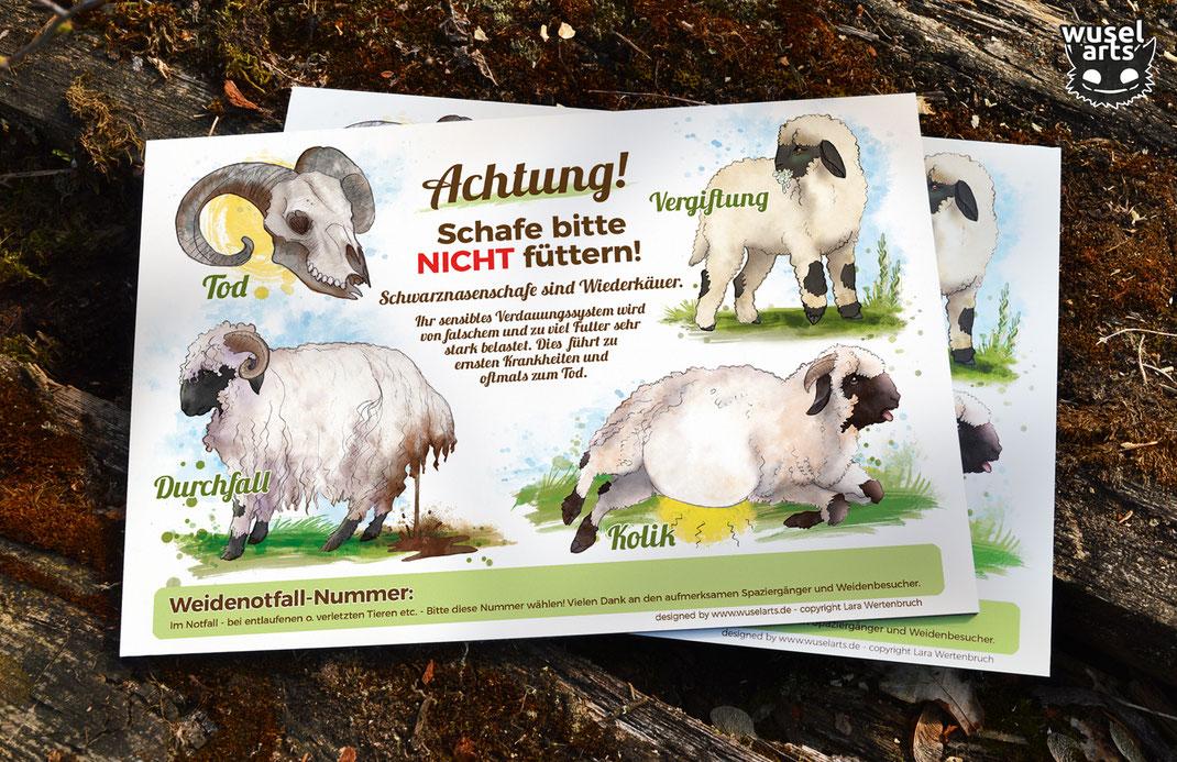 Walliser Schwarznasen Schafe - Bitte nicht füttern Schild