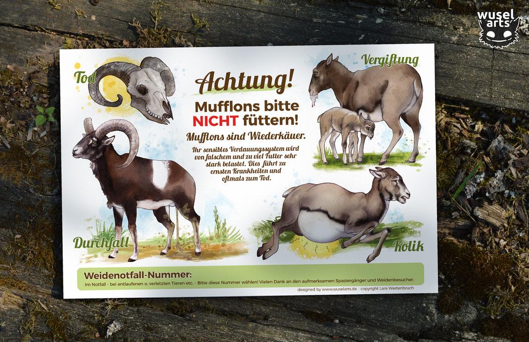 Mufflons nicht füttern! Muffelwild Schild für den Tierpark oder private Mufflongehege