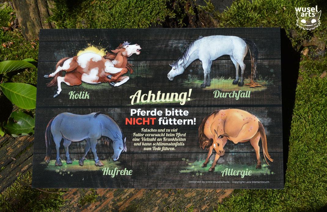 """""""Pferde bitte nicht füttern!"""" schickes Schild in Holzoptik, Hufrehe, Kolik, Durchfall beim Pferd"""
