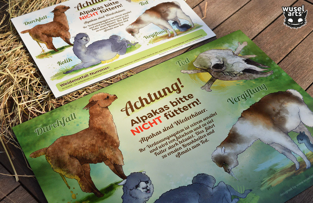 Alpakas bitte nicht füttern Schild Grün