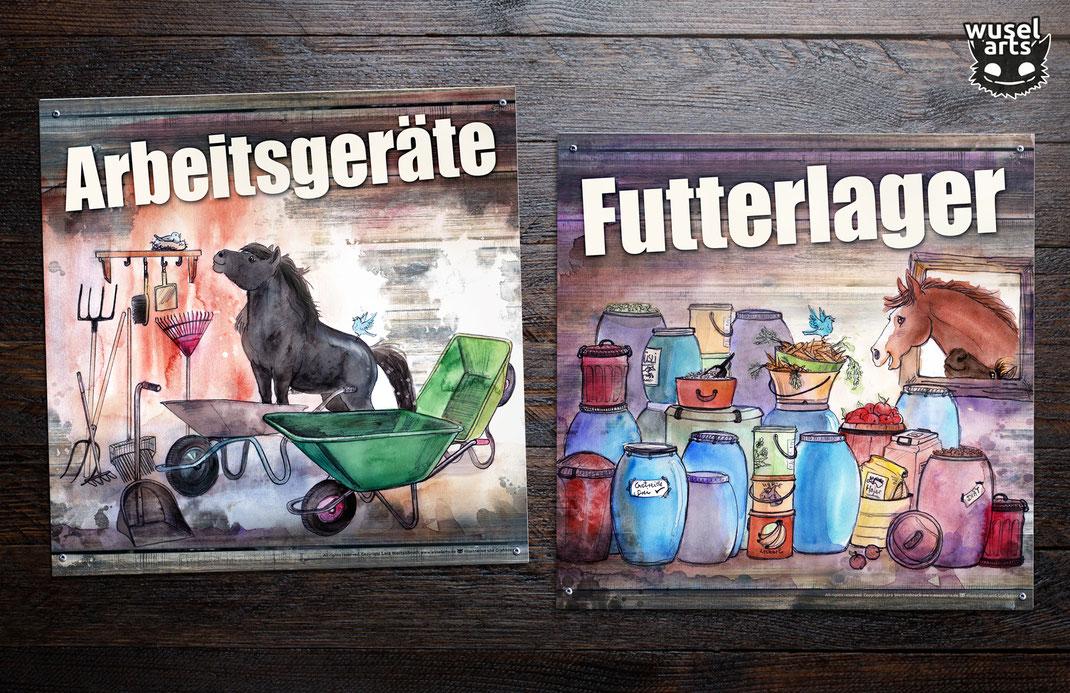 Arbeitsgeräte, Futterlager, Pferdehof, Ponyhof, Reiterhof Schild, Schilder für Futtertonnen