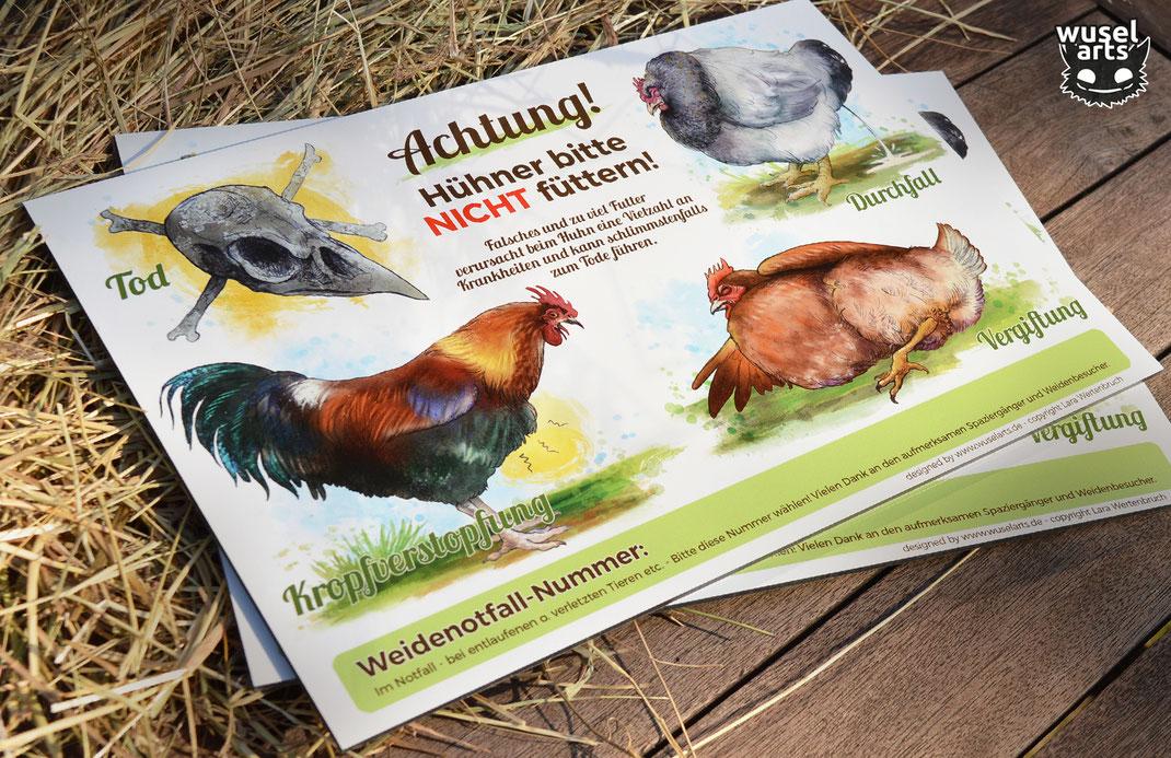 Hühner nicht füttern  Schild
