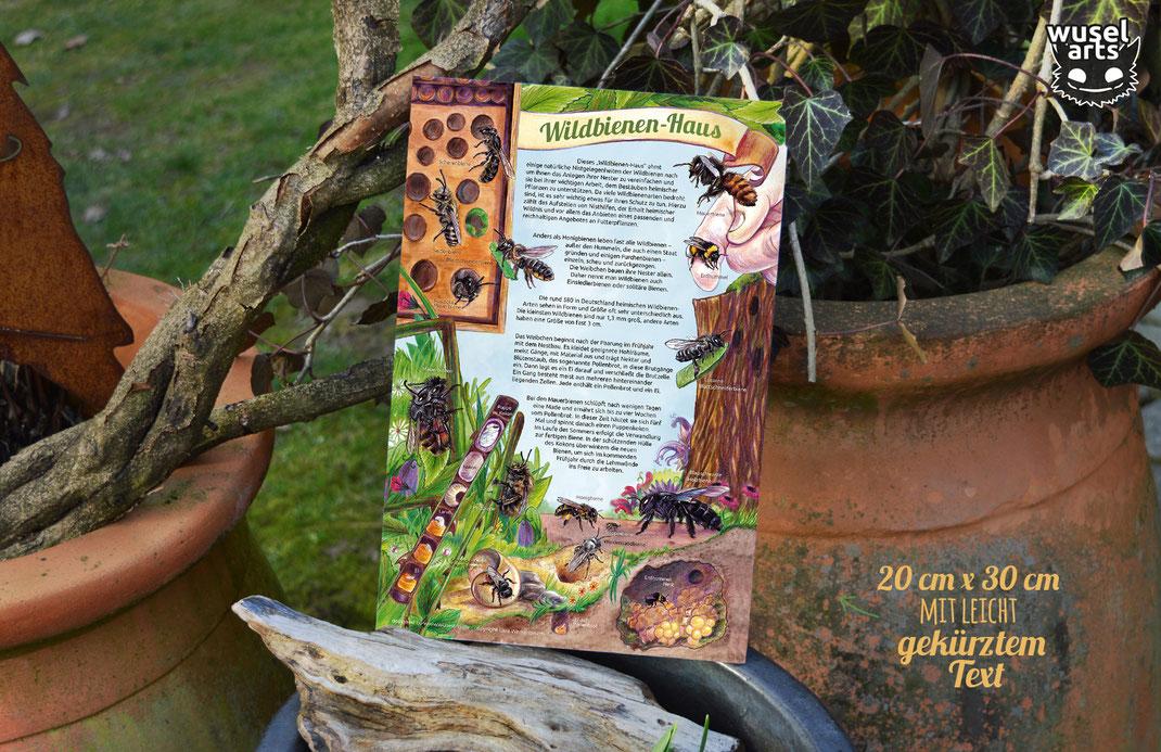 Wildbienenhaus Insektenhotel Schild Beschilderung Wildbienen