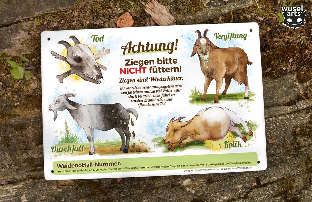 """Schild """"Ziegen nicht füttern!"""" warnt vor Folgen von Falschem Futter, Kolik, Durchfall, Vergiftung und Tod - Ziegen Schild"""