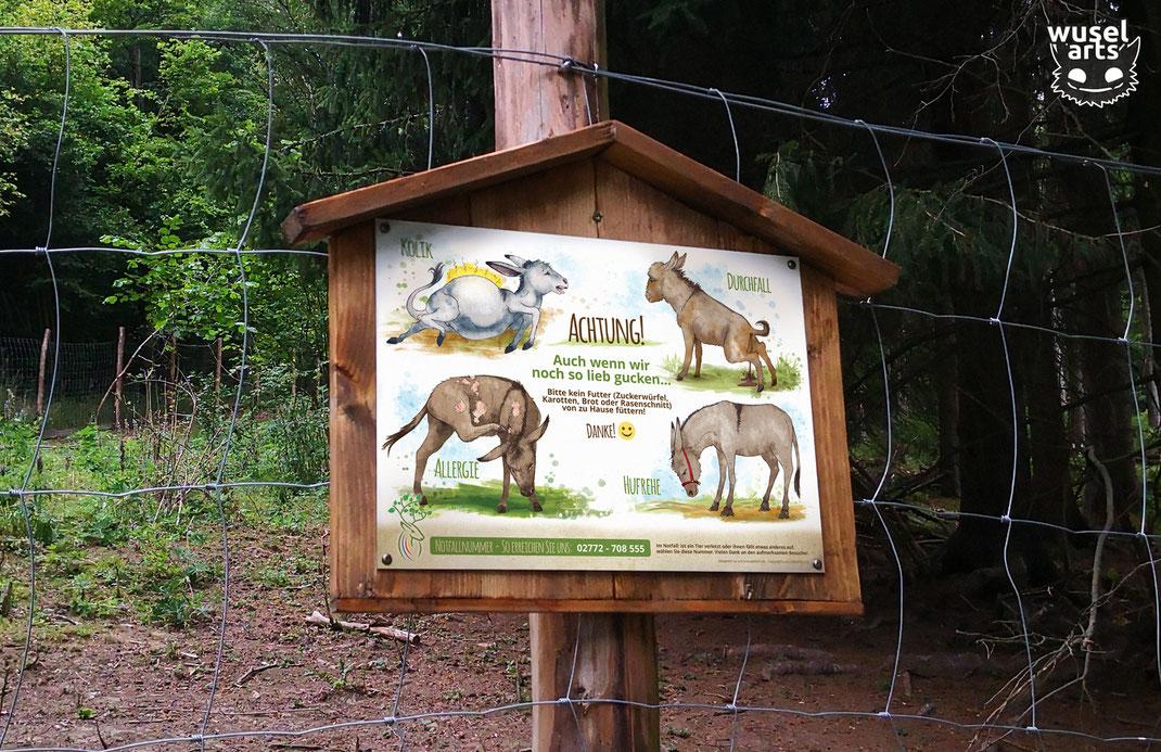 Wildpark Schild, Tierpark, Esel nicht füttern!