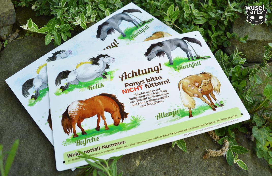 """""""Falsches und zu viel Futter verursacht beim Pony Krankheiten"""" """"Ponys nicht füttern!"""" Schild für die Weide"""
