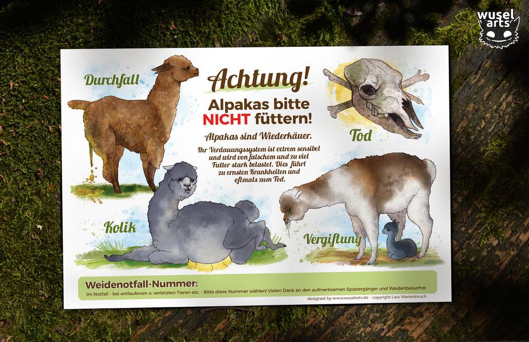 Alpaka Weideschild, Schild weist auf die Folgen falschen Fütterns bei Alpakas hin, Alpaka mit Durchfall, Kolik, Vergiftung