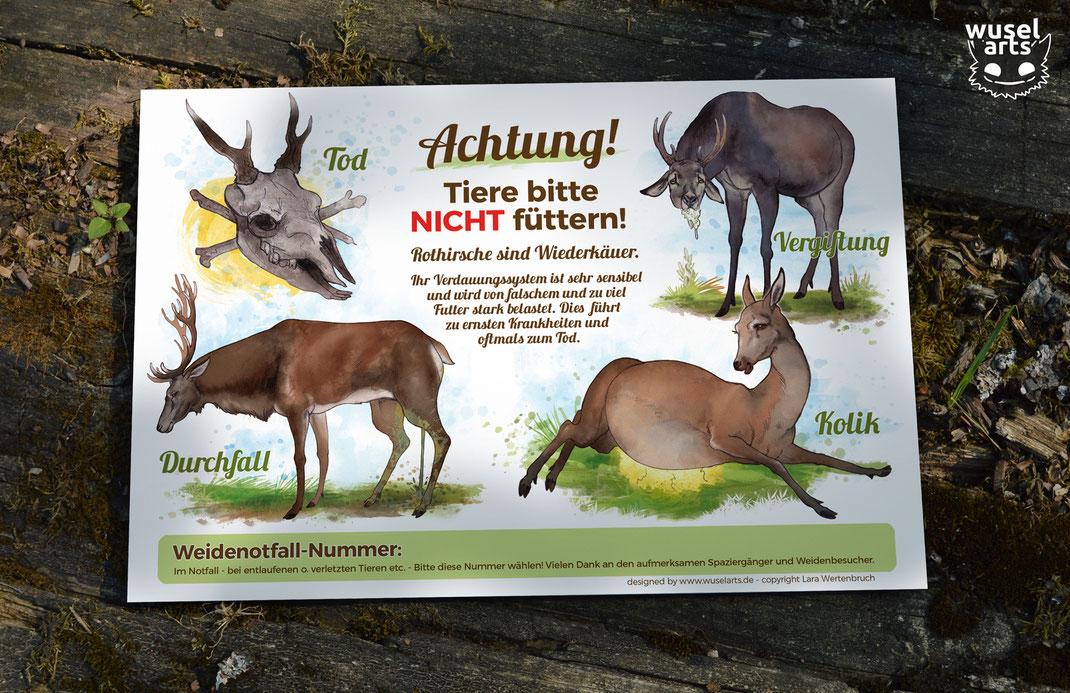 """Weideschild Rotwild, """"Rothirsche bitte nicht füttern!"""" - Schild für Wildgehege erklärt warum man die Hirsche nicht füttern darf"""