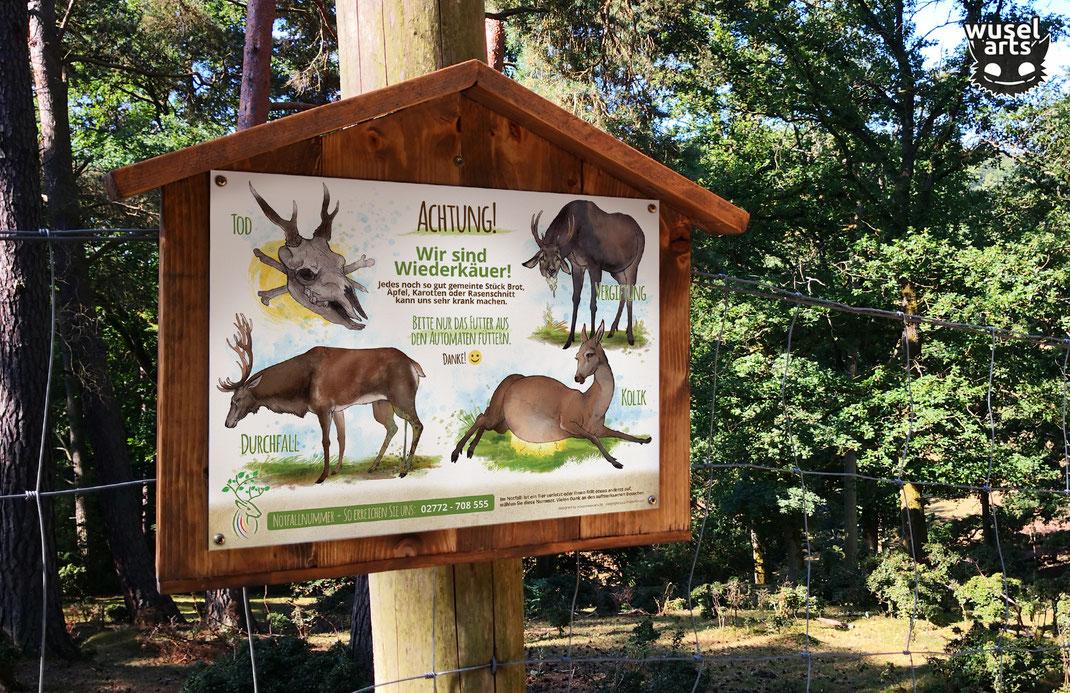 Wildpark Schild, Rotwild, Hirsche nicht füttern!