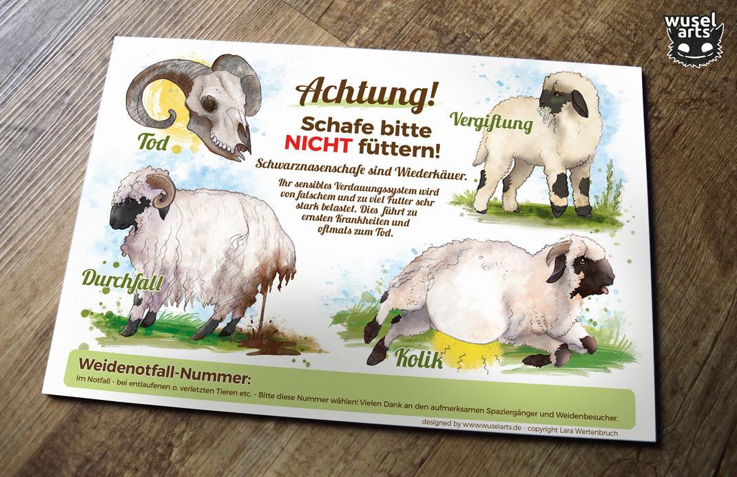 Walliser Schwarznasen Schafe bitte nicht füttern Schild