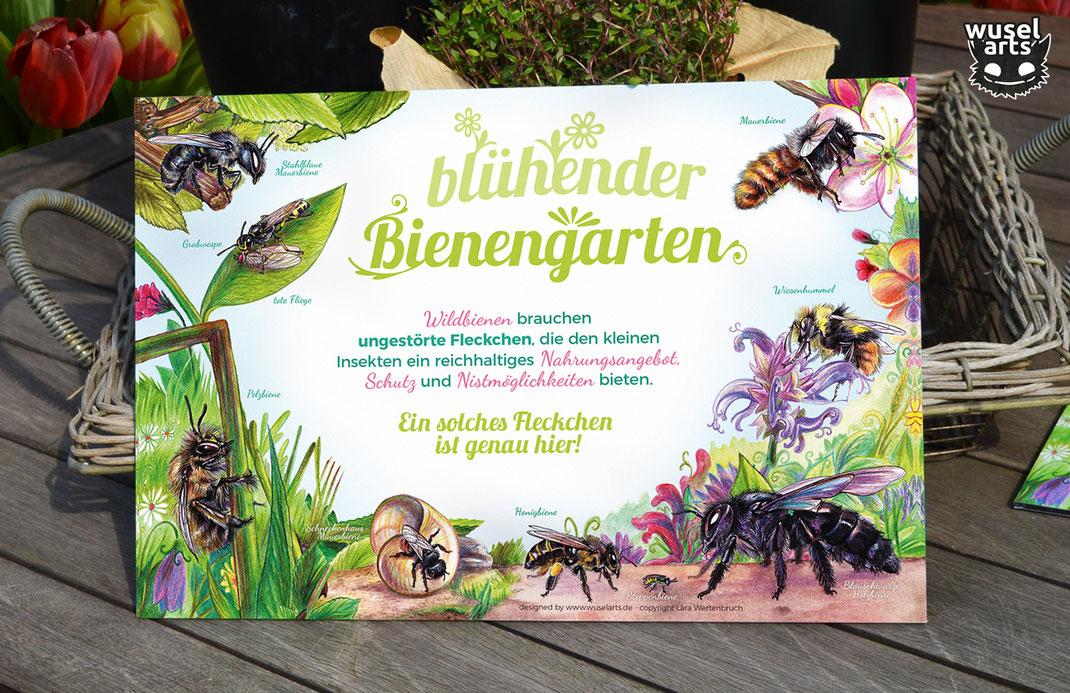 Bienengarten Wildbienen Schild Bienen