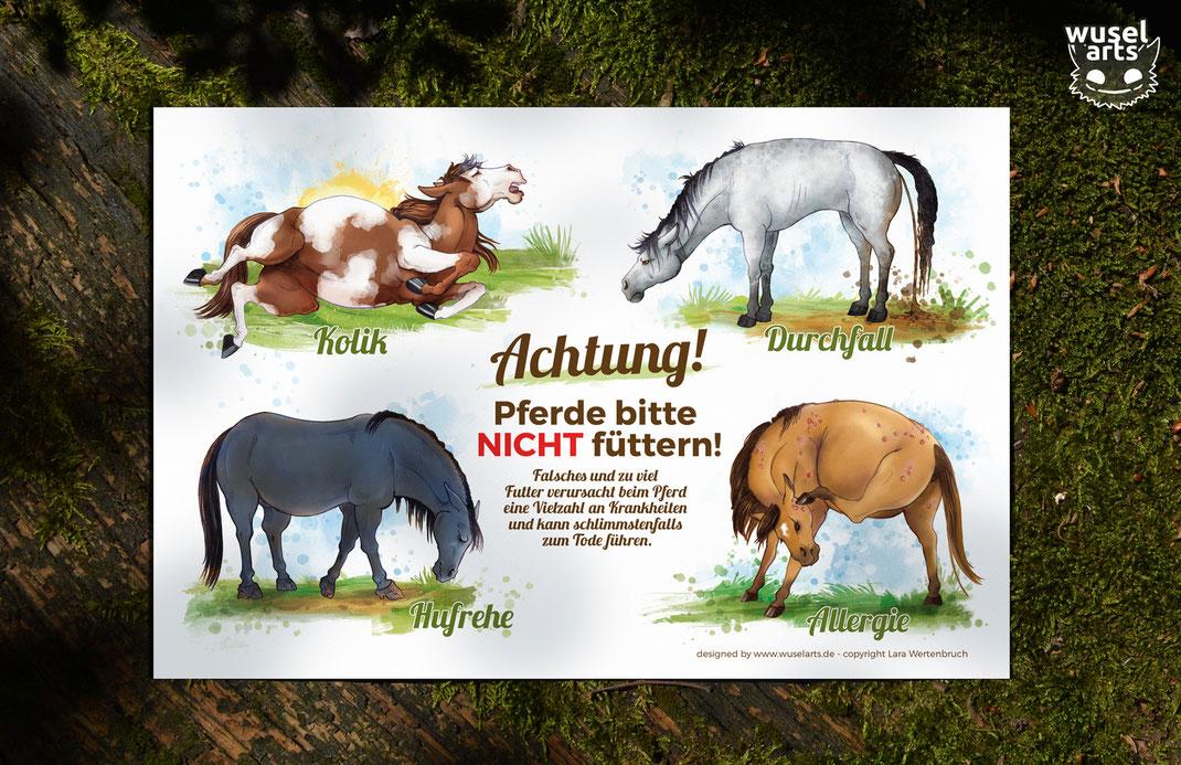Pferde nicht füttern! Weideschild Achtung!